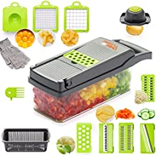 14 in 1 Vegetable Chopper with Anti Cut Gloves - Onion Chopper with Container - Egg Separator - Food Chopper Dicer with 7 Blades - Mandoline Slicer Vegetable Cutter for Tomato Cheese Potato Salad