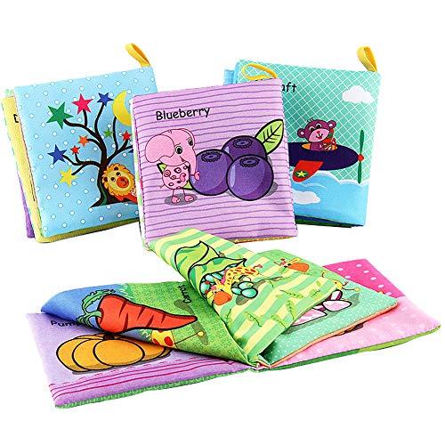 XIAPIA Libro Texturas Bebe de Tela Libro Interactivo Sensorial Aprendizaje y Educativo Juguetes Bebe 3 Meses Regalo para Bebé Recién Nacido Niños 4 Piezas
