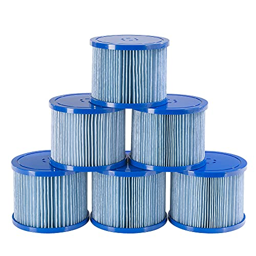 Arebos Poolfilter | 6X Filterkartuschen Spa Whirlpools | Antimikrobieller Filter | Blau