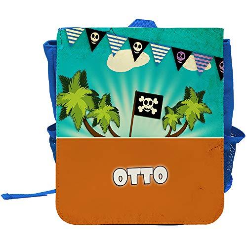 Kinder-Rucksack mit Namen Otto und Piraten-Motiv für Jungen