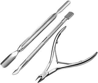 Haobase 3 Pcs Pusher Scraper Spatula Nail Clipper Cuticle Trimmer, Cuticle Pusher