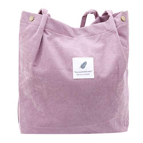 SEVENHOPE Frauen Cord Handtasche Schultertasche Tote Geldbörse Lässig Einkaufstasche Mode Große Kapazität Umhängetasche (Lotusfarbe)