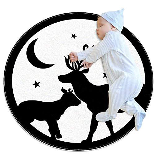Haminaya Sterne Mond Elch Runder Teppich Maschinen Waschbar für Wohnzimmer Schlafzimmer Badezimmer,Kinderzimmer Teppiche 80x80cm