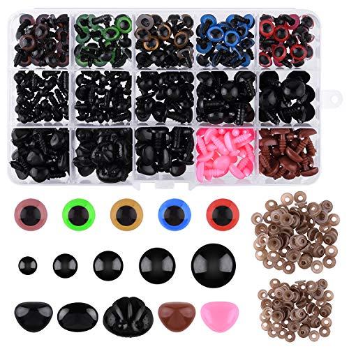 TUPARKA 600 Pcs Ojos Seguridad de plástico Incluye 190 Pcs de Ojo de Seguridad y Nariz de Seguridad de 110 Pcs con arandela de 300 Piezas de Varios tamaños para Hacer muñecas de Felpa
