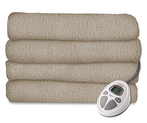 Sunbeam Heated Blanket | LoftTec, 10 Heat Settings, Mushroom, Twin - BRL9STS-R772-16A44