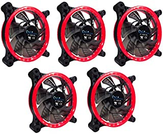 APEVIA 512L-CRD 120mm Silent Dual Rings Red LED Fan with 32 x LEDs & 8 x Anti-Vibration Rubber Pads (5 Pk)