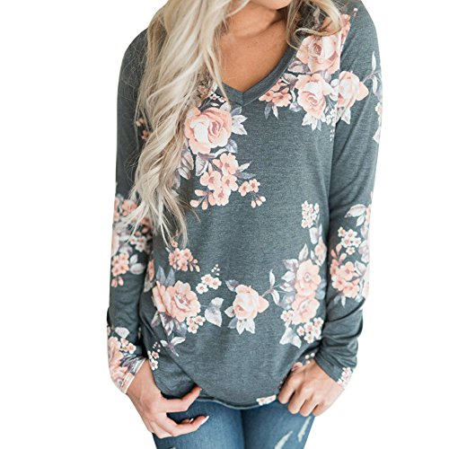 VJGOAL Mujeres Casual Fashion Loose v Cuello impresión Flor Top Blusa de Manga Larga Ladies Casual Tops Camiseta