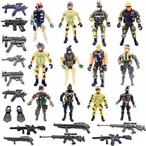 Qiandier 12 Pcs Military Team Action Soldiers Special Force Marine Recon Figure Elite Force Army