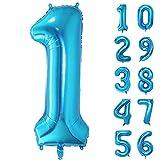 GRESAHOM Globos de número 1 de 40 pulgadas, globos de helio gigantes, globos de números 1 para fiesta de cumpleaños