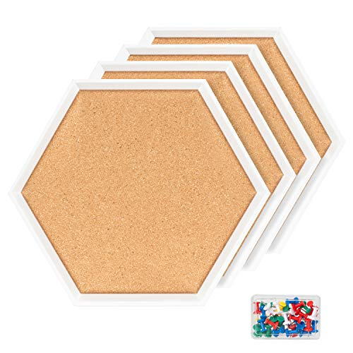 4 Packs Cork Boards Hexagon Shape with White Framed Bulletin Board Modern Decorative Cork Boards for School, Home,Office(Set Including 40 Push Pins,Hardware and Template)