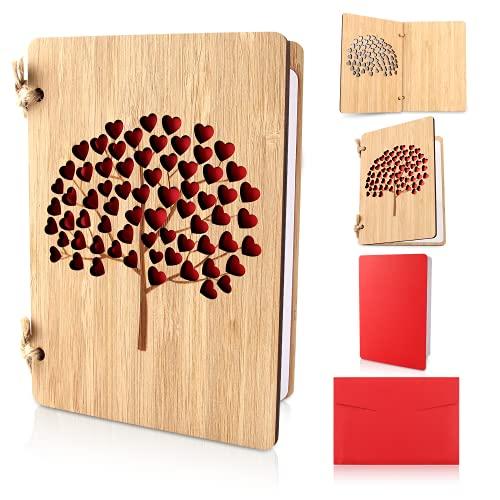 Karte aus Holz Liebe, Hochzeitskarten Jahrestag Karten für Sie, Geburtstagskarte, Valentinstag Karte Holz Handgefertigte Beschreibbare Bambuskarte mit Herz es Gibt Garn, Papier und Umschläge (Baum)