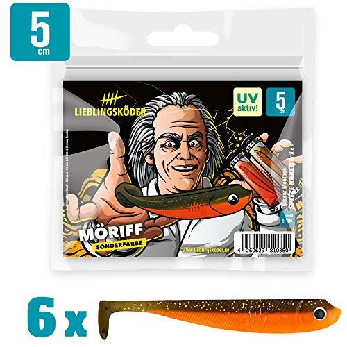 Lieblingsköder Gummiköder 5cm - 6 Gummifische zum Spinnangeln auf Barsche & Forellen, Barschköder zum Spinnfischen, Gummishads, Farbe Lieblingsköder:Möriff