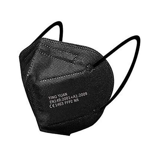 10x FFP2 Maske Atemschutzmaske Mundschutz Staubmaske 5-Lagig mit Gummiband und anpassbarem Nasenbügel Gesichtsschutz einzelverpackt im PE-Beutel Zertifiziert CE1463 EN149:2001+A1:2009 Schwarz