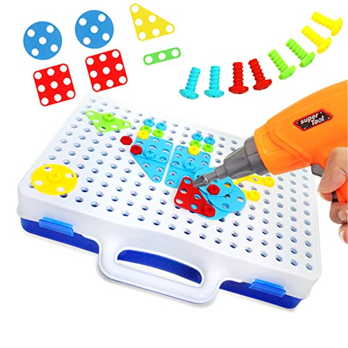 Insaneness Construction Toy Drill - Screw Toy Kids Drill Set - Assembling Building Block Platter - Educational Preschool Learning Toy - Creative DIY Mosaic Puzzle Toy for Boys&Girls