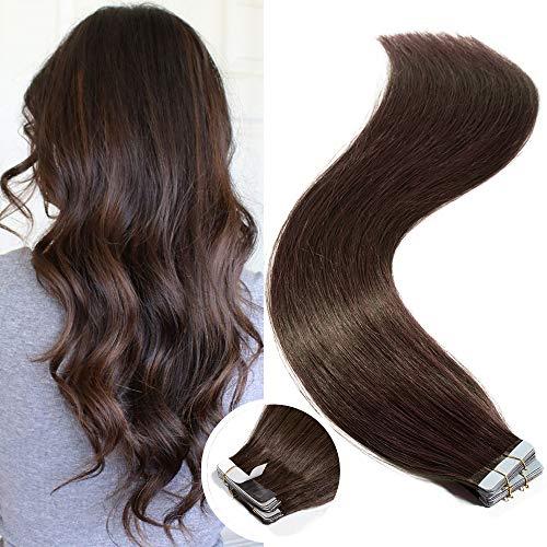 Elailite Tape Extensions Echthaar Klebeband Haarteile Tape in Haarverlängerung Remy Human Hair Glatt 20 Stück 50g 16