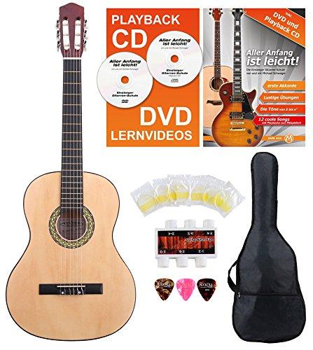 Classic Cantabile AS-851 Linkshänder Konzertgitarre 4/4 Starter Set (6 Saiten, Lindenholz, Griffbrett: Blackwood, Zubehörset inkl. Tasche, Schule, Stimmpfeife, Nylonsaiten) natur