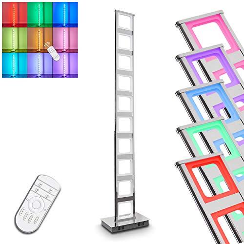 Lampe sur pied LED Nain en métal chromé–Changement de couleur Lampe de sol pour salon–Chambre–pouvez utiliser la télécommande les blancs et colorés LED RVB beliebig sur la télécommande peuvent être commandés–La LED blanches également dimmen–zusätzlich se trouve à un pied Interrupteur sur le câble