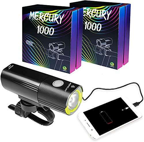 TONG Fahrradbeleuchtung Superheller USB-Wiederaufladbares Fahrradlicht |IPX6 wasserdichte Bergstraße Fahrradlichter |Sicherheit |Easy Mount Cycle Light |Front-Fahrradlicht |LED 1000 Lumen. Praktisch