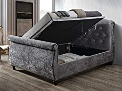 The platform top ottoman base features gas lift arms which can be fitted to open on either the left or right-hand side of the bedstead giving you that extra flexibility Upholstered in polyester the Castello side ottoman is available in a steel velour...