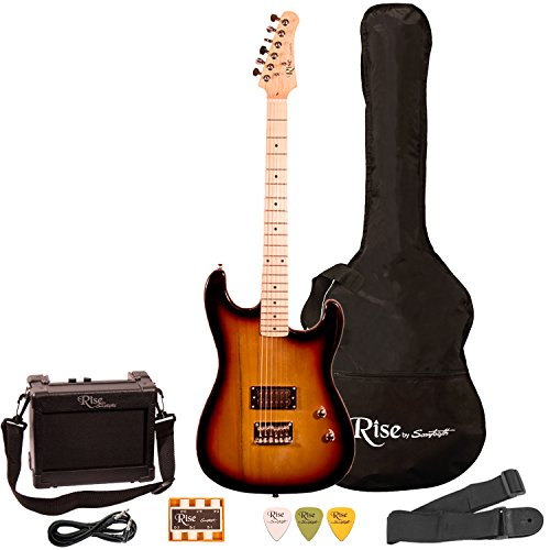 Best Value: Rise by Sawtooth Right-Handed 3/4 Size Beginner Electric Guitar Kit,