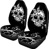HUGS IDEA Halloween Skulls Butterfly Design Car Seat Covers Full Set of 2 Flexible Elastic Air Cushion Pad Mats Universal Fits Cars Trucks Vans
