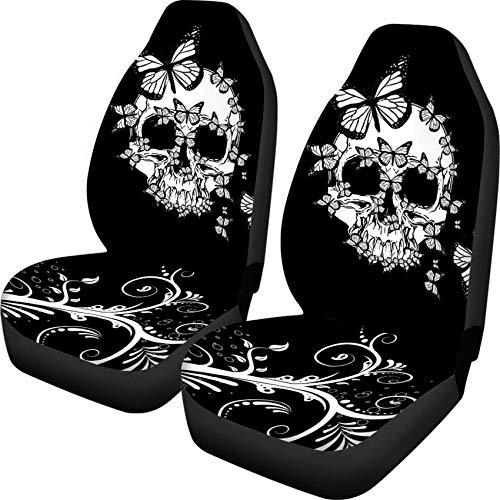HUGS IDEA Retro Sugar Skulls Butterfly Design Car Seat Covers Full Set of 2 Flexible Elastic Air Cushion Pad Mats Universal Fits Cars Trucks Vans