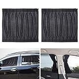Winomo 2 piezas cortinas correderas parasol coche,cortinas magnéticas para coche, Coche protección UV Cortina para parasol,Proporcionar Privacidad, Negro