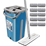 Flat Mop Bucket with Wringer - Tsmine Hands-Free Self-Cleaning 360° Flexible Head Floor Mop with 10 Reusable Microfiber Mop Pads, 59.8' Extended Handle for Hardwood, Laminate ,Tiles