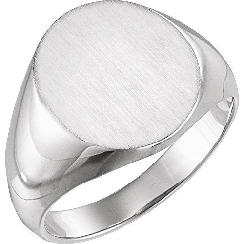 Hermoso plato de platino 900 para hombre ovalado sello anillo con acabado de pincel viene con un regalo de joyería gratis