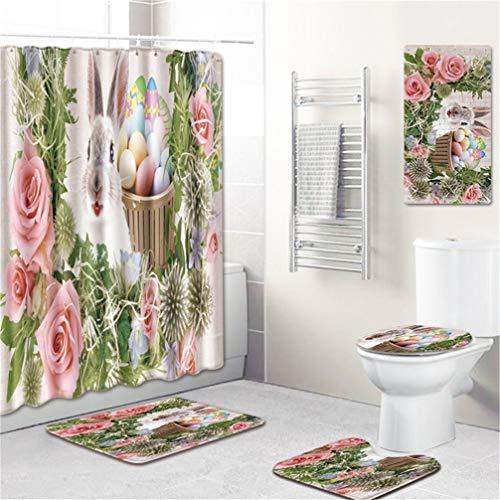 AMON LL Duschvorhang & Badematten-Set, Adler Deckel toilettendeckel Bodenteppiche Bad Vorhang mit 12 Haken, 5 Stück,6