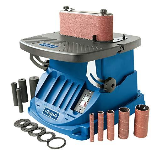 Scheppach oszillierender Spindelschleifer OSM600 (Spindelschleifmaschine mit 450 Watt, neigbar bis 45°, Alu-Tisch, Oszillationshub 16 mm) inkl. 5 Schleifhülsen & 4 gummierten Schleifwalzen