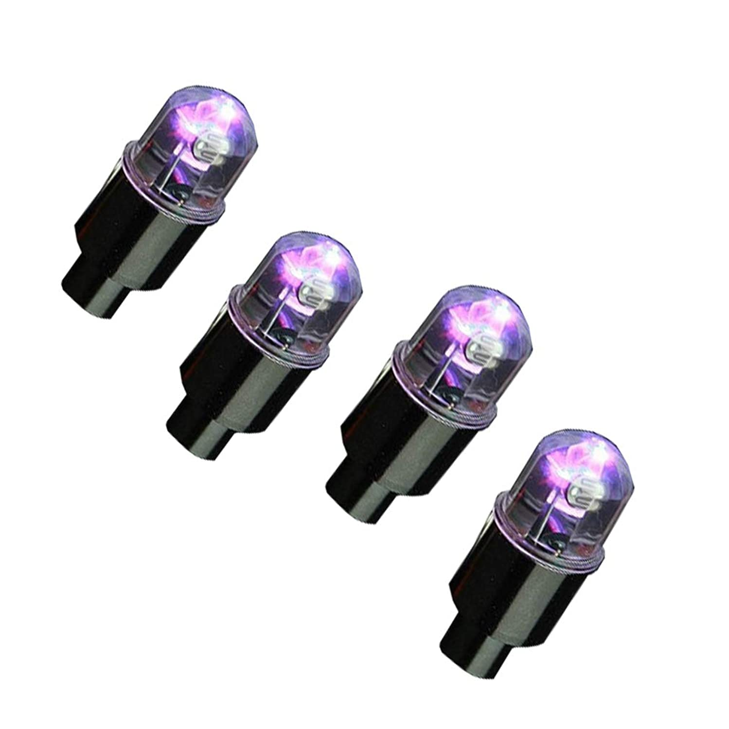 EKYAOMEI 4 Pack LED Automatic Flash Neon Air Valve Light Lamp Tyre Wheel Tire Valve Stem Cap Cover for Cars Cycling (Green)