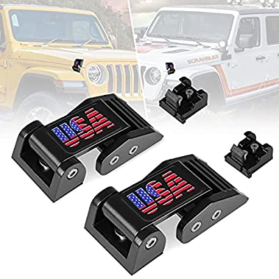Nstarsmotor Aluminum Hood Latches Catch Kit with U.S.A Style Specific Design Replacement for Jeep Wrangler JK JKU 2007-2018 & 2018-2021 Jeep Wrangler JL JLU Gladiator JT