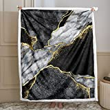 Black Marble Blanket Black Gold Throw Blanket Black White Gold Marble Texture Printed Sherpa Fleece Blanket Soft Warm Blanket for Bedroom Couch Sofa (Throw(50'x60'), Black Gold)
