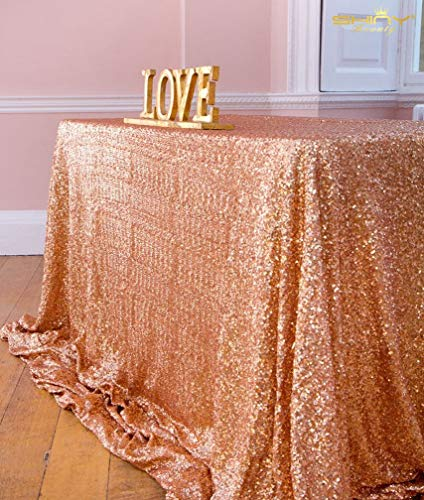 ShinyBeauty Tovaglia con paillettes, 125 x 180 cm, tessuto con lustrini, per matrimonio, colore: champagne, Rose Gold Color, 125x180cm Sequin Tablecloth