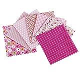 aufodara 7 pezzi 50x50 cm Quadrati Tessuto Cotone Stoffa Patchwork Modelli Diversi Tessuti per Cucito, Quilting, Artigianato, Fai da te, Hobby Creativi, Materiali pacchetto (Rosa)