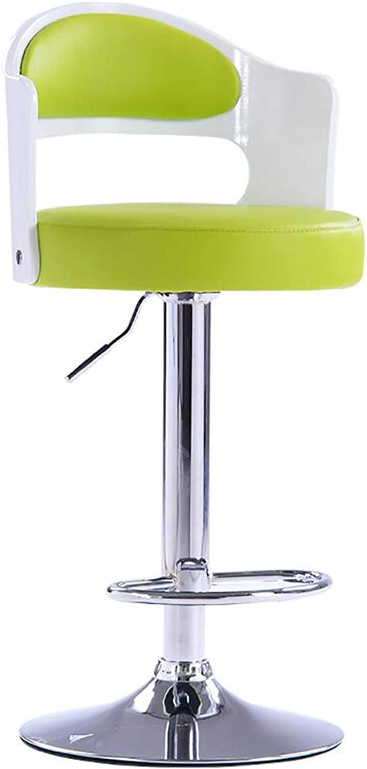 Bar Stool with Backrest, Leatherette Exterior, Adjustable Swivel Gas Lift, Footrest and Base for Breakfast Bar, Counter, Kitchen and Home Barstools-Green