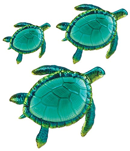 Comfy Hour Coastal Ocean Sea Turtles Hanging Wall Art Decor Set (3 Pieces - Large), Outdoor or Indoor, Metal and Glass, Green