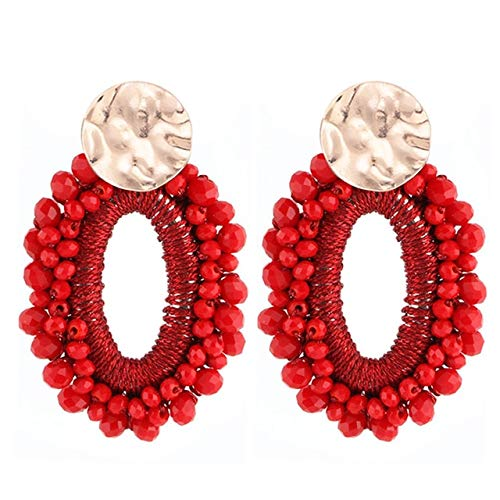 Stud Earrings For Women Crystal Beads Handmade Big Pendientes Statement Earrings Fashion Jewery Gifts Red