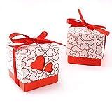 Set de 100 Cajas para dulces bombones Cajitas de boda regalo Caja de cuadro Romántico con Corazón...