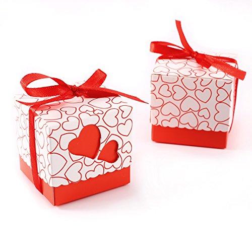 Set de 100 Cajas para dulces bombones Cajitas de boda regalo Caja de cuadro Romántico con Corazón cinta (Rojo)