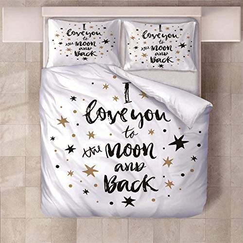 NHBTGH Duvet Cover Set 78.74x78.74 inch Printed Letters Love 1 Quilt Cover +2 Pillow Cases (2x19.69x29.53 inch) Easy Care Polyester Bedding Bedroom Set with Zipper Closure - White