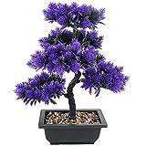 SHJI Artificial Bonsai Pine Tree, DIY Planta Artificial Fake Potted Plant Decoration Office Restaurante Mesa de Comedor Ventana Balcón Decoración de Mantenimiento 0529 (Color : Purple)