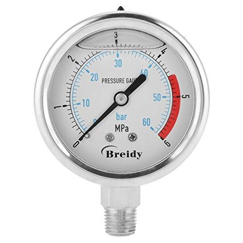 60mm Manometer Analog Gasdruckanzeige 0-60Bar 0~6Mpa für Wasser Luft Öl Dial Instrument Basis Eintrag NPT 1/4