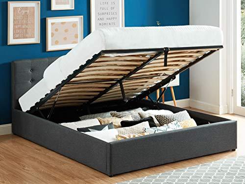 HOMIFAB Lit Coffre 160x200 en Tissu Gris Anthracite avec tête de lit et sommier à Lattes - Collection Tina