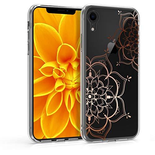 kwmobile Hülle kompatibel mit Apple iPhone XR - Handyhülle - Handy Hülle Blumen Zwillinge Rosegold Transparent