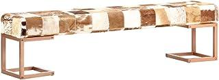 Tidyard Banco de Retales Patchwork Cuero Auténtico Estilo Retro Rústico Cabra Marrón 160 cm