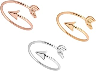 JJTZX Adjustable Sideways Arrow Ring Celebrity Style Double Wrap Layering Stackable Knuckle Ring Wedding Gift (3 Color Set)