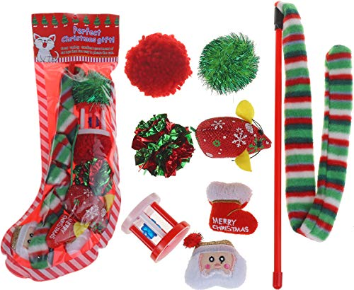 BoomBone Pack of 8 Cat Toys Christmas,Interactive Cat Toy,Fish Cat Toy and Crinkle Ball