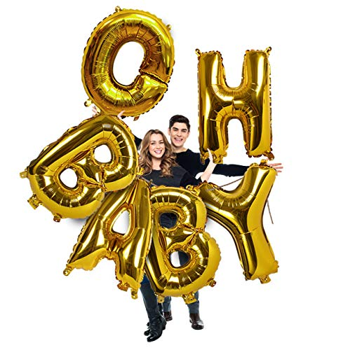 Jumbo Oh Baby Gold Metallic Foil Letter Mylar 40 Inch Pack of 6 Balloon Banner Garland for Girl or Boy Baptism Christening Baby Shower Gender Reveal Sweet Sixteen Birthday Party Supplies